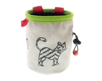 Handmade Chalk Bag, Indoor Rock Climbing Chalk Pot, Bouldering, Rockwall, Gym Chalk Pouch with Cats. M Size