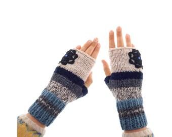 Crochet Mittens Fingerless Gloves with Flowers, Ladies Wool Striped Wrist Warmers