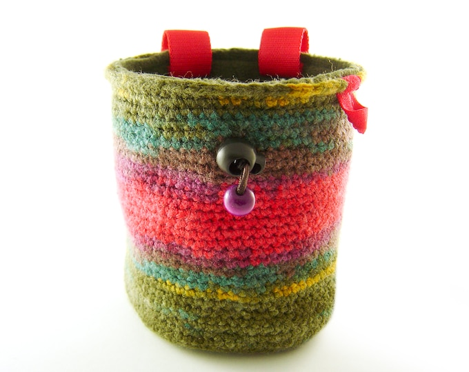 Unique Handmade Chalk Bag. Rock Climbing Gear Handmade Chalkbag Funky Colorful, M Size
