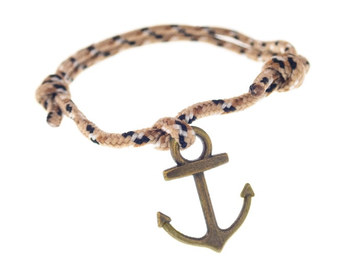 Mens Bracelet Rope, Nautical Braided Thin Rope Anchor Bracelet for Guys. Climbing Designer Cuff. 2 mm