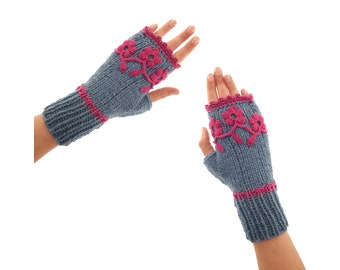 Fingerless Mitts Knit, Aesthetic Mittens and Gloves for Adults,  Ladies Designer Hand Warmers for Typing or Driving