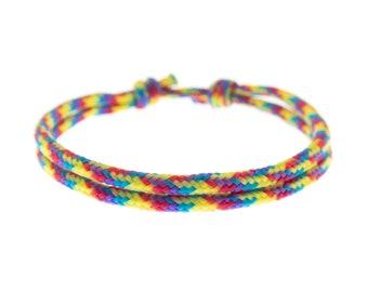 Rainbow Friendship Bracelet, Pride Lesbian Gay Paracord Wristband, Subtle String LGBT Cord Bracelet. 2 mm