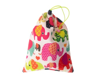 Fabric Bag with Drawstring Cord, Fabric Bag for Women, Elephant Fabric Bag with Drawstring Closure for Gym, Travel, Storage, Gifts H28/W21cm