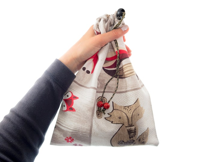 Canvas Bag, Grocery Market Shopping Reusable Pouch, Mens Travel Eco Drawstring Gift Bag. H31/W22 cm