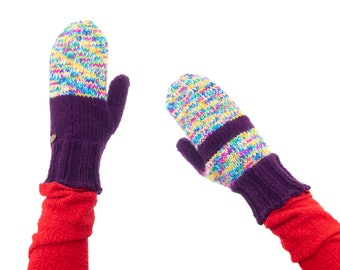 Mittens Womens Wool. Mittens Womens Thumb, Mittens Womens Purple, Gloves with One Finger, Cute Nordic Warm Designer Knitted Odd Mittens