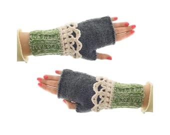 Gloves & Mittens, Ladies Winter Fingerless Mitts, Women's Warm Crochet Novelty Mittens for Adults