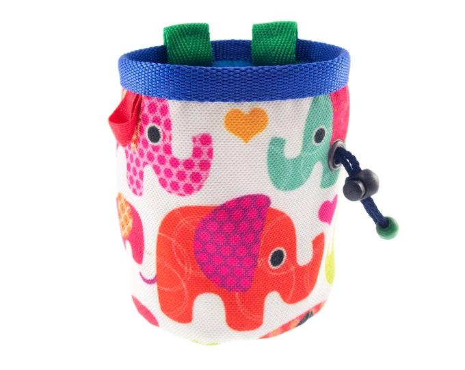 Kids Cute Chalk Bag, Ultralight Cool Fun Animal Elephants Kids Rock Climbing Pouch. S Size
