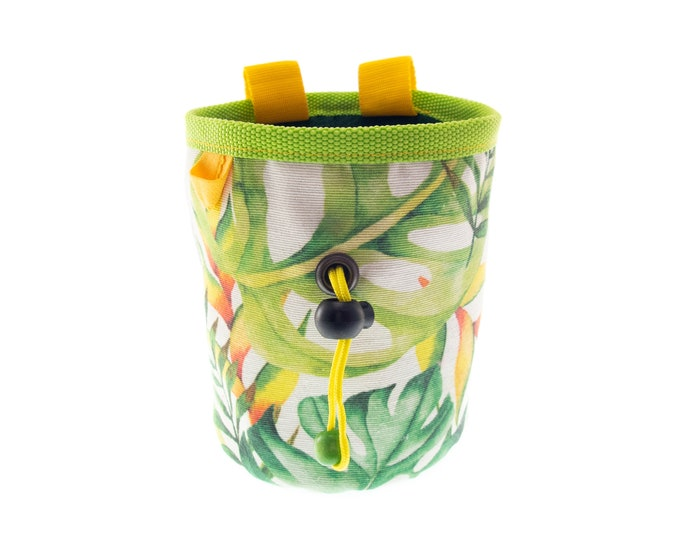 Cool Climbing Chalk Bag, Bouldering Chalk Bucket, Tropical Rock Climbing Pot Equipment, M Size