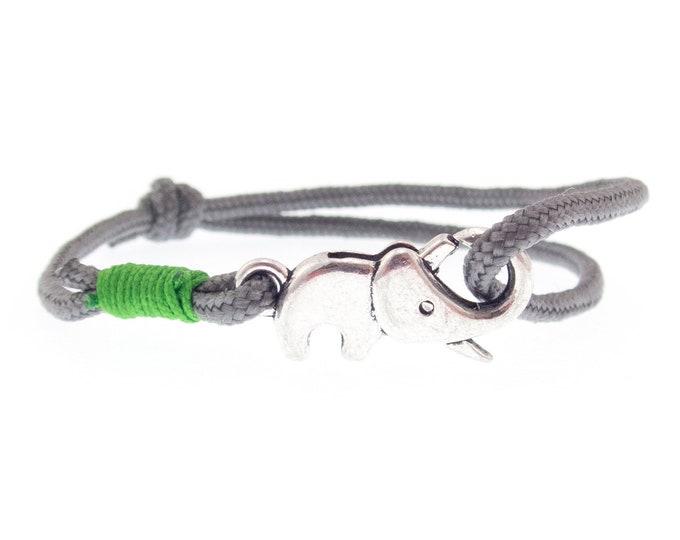 Elephant Bracelet Men, Men's Bracelet, Elephant Ankle Bracelet, Lucky Link Charm with Knot Cord. Chakra and Good Luck Cuff. 2 mm