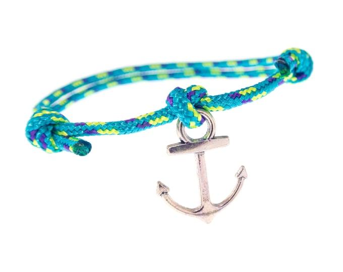 Mens Rope Bracelet, Men's Bracelets, Adjustable Bracelet, Nautical Jewelry With Silver Plated Anchor. 2 mm
