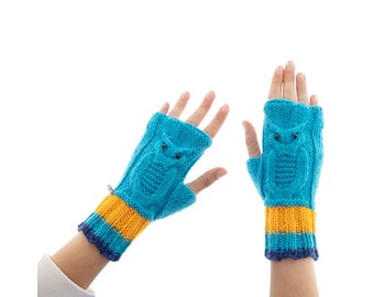 Owl Gloves & Mittens for Ladies, Warm Fingerless Mitten Gloves for Winter and Spring, The Warmest Cashmere Woollen Mittens for Adults