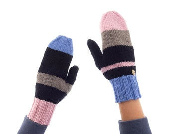 Knitted Mittens Gloves for Women, Warmest Ladies Wool Mittens for Adults for Winter, Asymmetrical and Warm