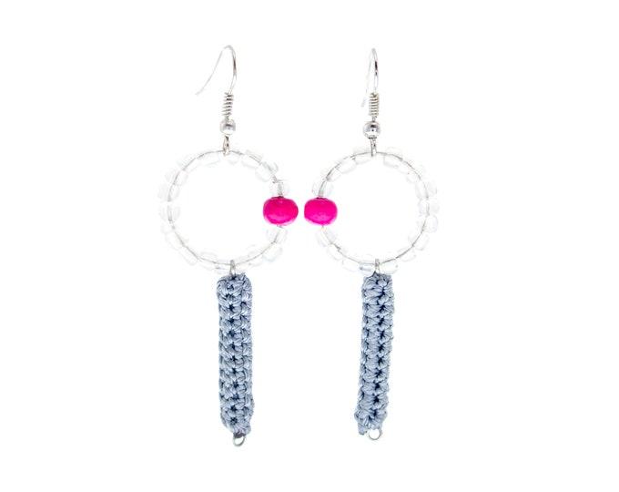 Fashion Jewelry Earrings, Bohemian Earrings Fashion Jewelry Chandelier Earrings, Drop Dangle Elegant Hoop Statement Teardrop Grey