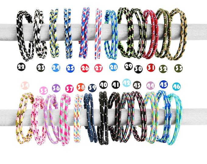 Minimalist Bracelet Men Womens Paracord Cuff, Friendship Couple Rope Slider Jewelry. 2 mm