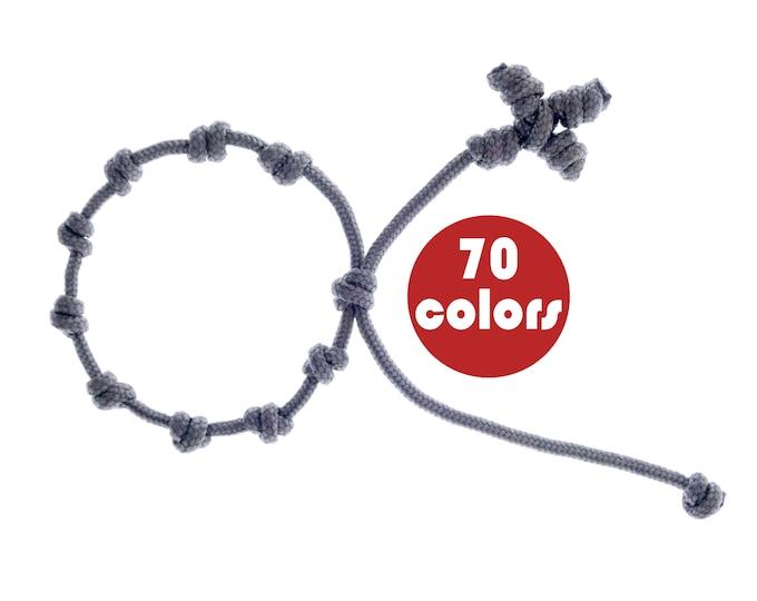Rosary Bracelet String Knotted Rope, Mens Wrist Catholic Prayer Adjustable Paracord Decenario. 2 mm
