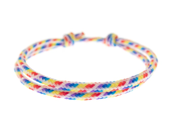 Rainbow Bracelet String, Eternity Cord Cuff, Friendship Equality Gift, Hope, Pride LGBT Paracord Jewelry. Unisex. 2 mm