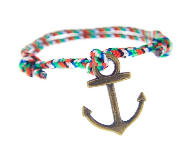 Mens Anchor Bracelet Jewelry. Mens Fashion Anchor Bracelet. Mens Nautical Anchor Bracelet Of Navy Red Rope. Wrap Mens Bracelet. 2 mm