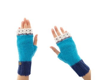 Wooly Mittens, Wool Crochet Fingerless Gloves for Adults, Hand Knit Half Mittens for Ladies, with Woolen Lace and Beads