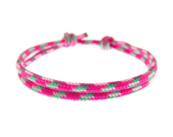 Pink Bracelet String, Mens Wrap Rope Yoga Cuff, Friendship Hot Pink Paracord Wristband. Unisex. 2 mm