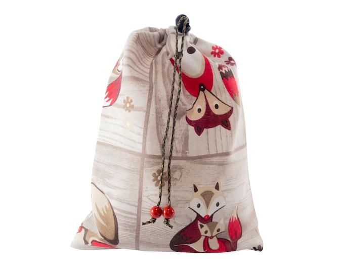 Canvas Gift Bag, Drawstring Yoga Gym Pouch, Plain School Accessory Purse, Small Day Cinch Bag. H30/W22 cm