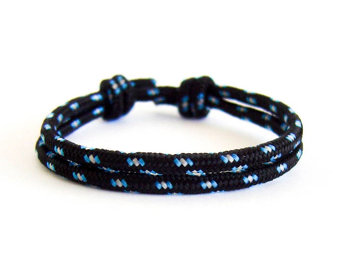 Rope Bracelet, Rope Bracelet Mens, Rope Bracelet With Knots That Slides. Nautical Braid Jewelry For Guys. Black 3mm