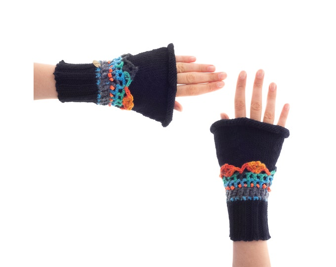 Gloves and Mittens, Best Woollen Mittens Ladies, Black Blue Cashmere Fingerless Mitts for Driving, Hand Knitted Over Gloves