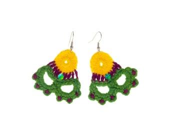 Funky Earrings, Aesthetic Artistic Big Jewellery, Bright Boutique Colourful Dangle Earrings, Designer Drop Festival Fashion Earrings