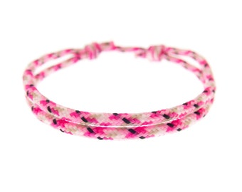 Pink Wristband, Handmade Hot Pink Hope Bracelet Gift, Light Pink Braided Cord Rope Jewelry for Guys and Women, 2 mm
