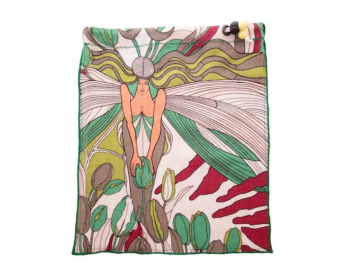 Drawstring Bag Medium Girl, Drawstring Bag Cotton Natural Linen, Drawstring Bag Adult for Underwear Gymnastics Green Tote for Shoes H31/W28