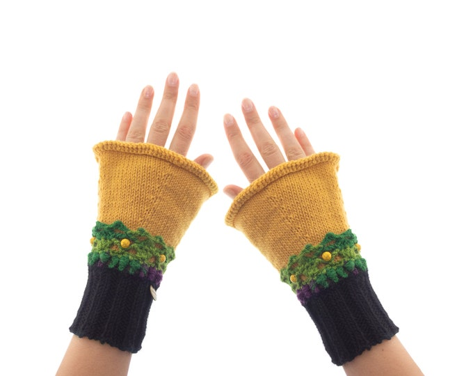 Cashmere Mittens Fingerless, Womens Gloves Wrist Warmers of Black and Mustard Yellow with Lace, Designer Ladies Cuffs