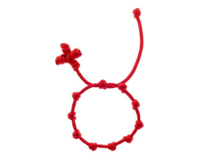 Paracord Rosary Bracelet, Catholic Prayer Red Decenario One Decade Wristband, Cord Rope Cross Wrist. 2 mm