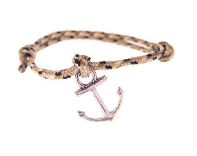Mens Sailor Bracelet, Sailing Knot Rope Mens Designer Bangle, Male Ship Boat Anchor Adjustable Couple Bracelet. 2 mm