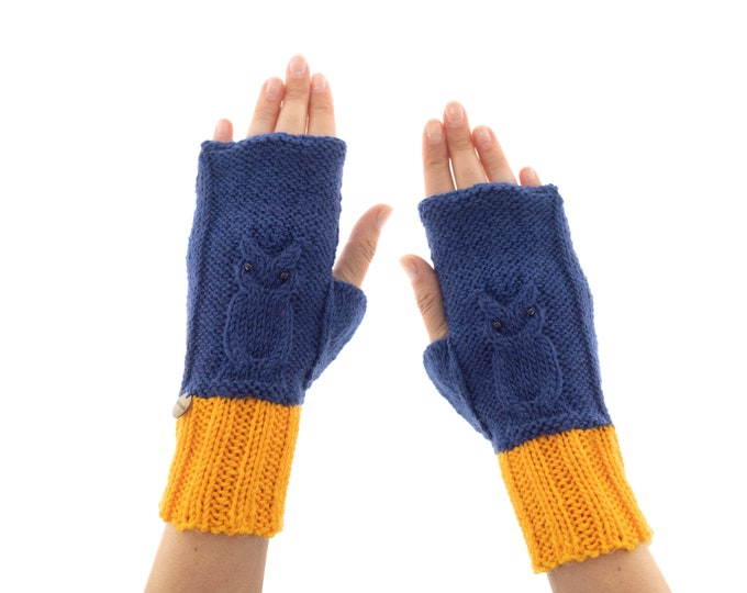 Women's Texting Mittens, Knitted Gloves Fingerless for Ladies, Warm Yarn Texting Owl Wrist Warmers