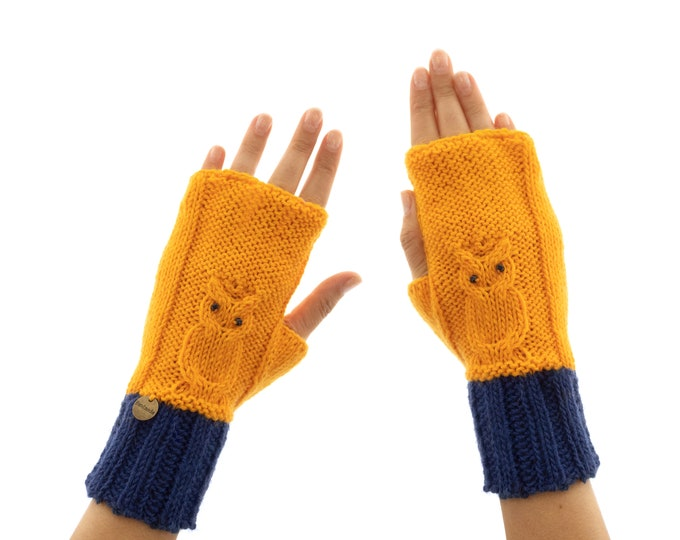 Best Mittens for Women, Warm Winter Cute Gloves for Adults, Cute Fingerless Hand Gloves With Owls