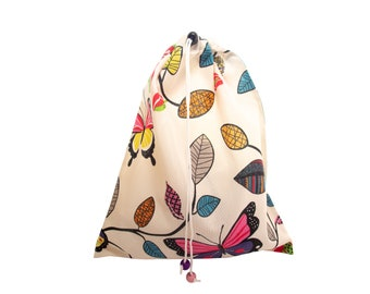 Shoe Bag for Travel, Shoe Bag for Women, Shoe Storage Bag, Individual Traveling Accessories, Designer Cotton Cloth with Drawstring H43/W35cm