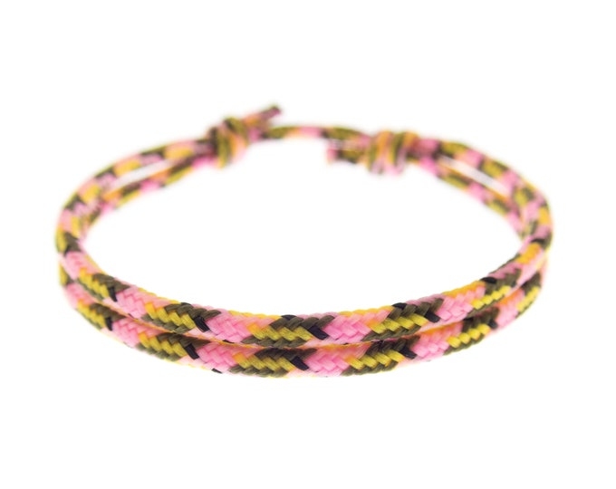 One Strand Paracord Bracelet, Simple Thin Rainbow Rope Jewelry, Survival Bracelet with Knot for Men and Women. 2 mm