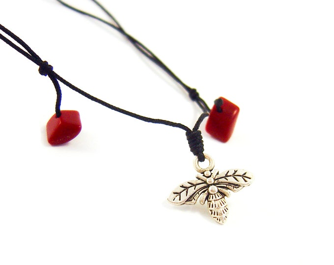 Travel Gift for Men Necklace. Travel Gift for Women. Travel Gifts for Him, Travel Gift for Her, Fathers Day Dad Honey Bee Pendant. 0.8 mm
