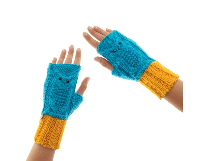 Owl Gloves, Ladies Wool Mittens Fingerless, Youth and Large Size. Yellow and Turquoise Wooly Yarn with Agate Gemstone Eyes
