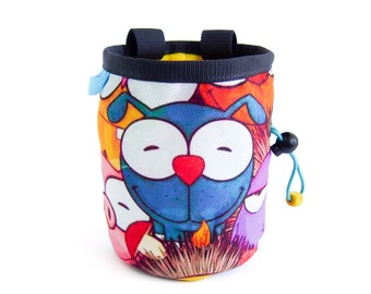 Chalk Bag Climbing, Chalk Bag Rock Climbing Exercise Equipment. Bouldering and Rock Climbing Designer Gear Accessories for Sale. Big XL Size