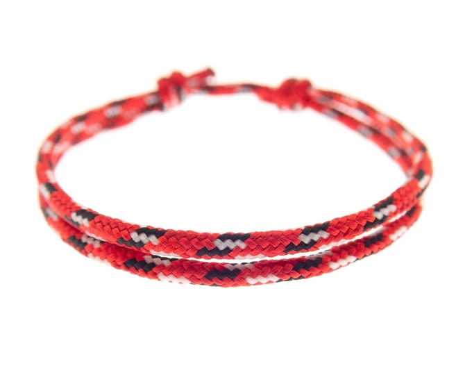 Simple Bracelet String, Nice Red Paracord Rope Jewelry, Unisex Thread Bracelet. 2 mm
