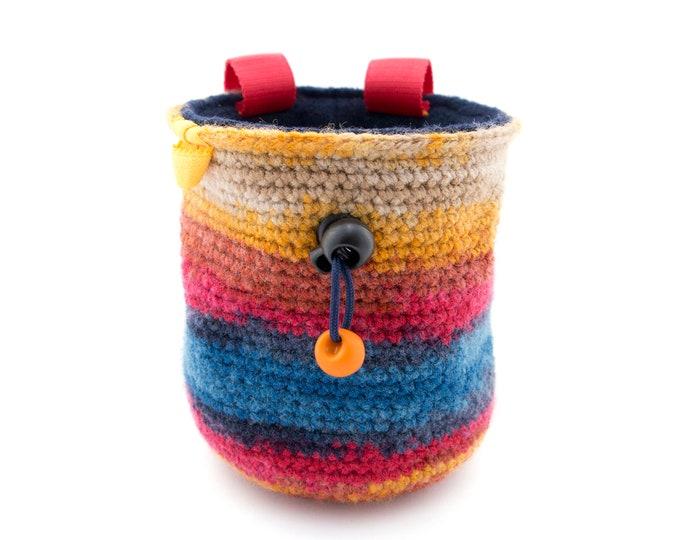 Crochet Chalk Bag Bouldering and Rock Climbing, Knit Yarn Best Handmade Chalk Bucket, Valentines Gift M Size