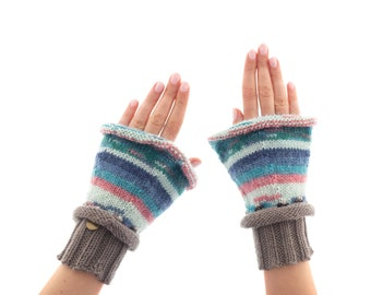 Mittens Gloves for Women, Winter Cable Knit Gloves Fingerless for Adults, Ladies Woollen Warm Mittens