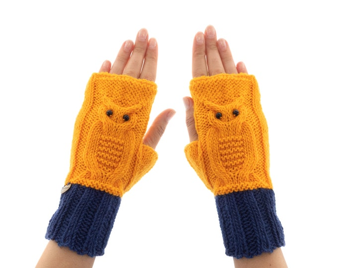 Cool Fingerless Gloves Womens, Winter Cool Looking Driving Mittens, Youth Yoga Texting Owl Mitts of Yarn with Agate Eyes