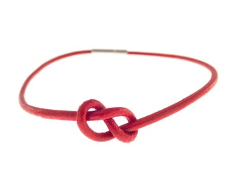 Mens Leather Infinity Bracelet for Him, Loom Friendship Knot Cuff for Couples, Love Symbol Ankle Bracelet. 2 mm