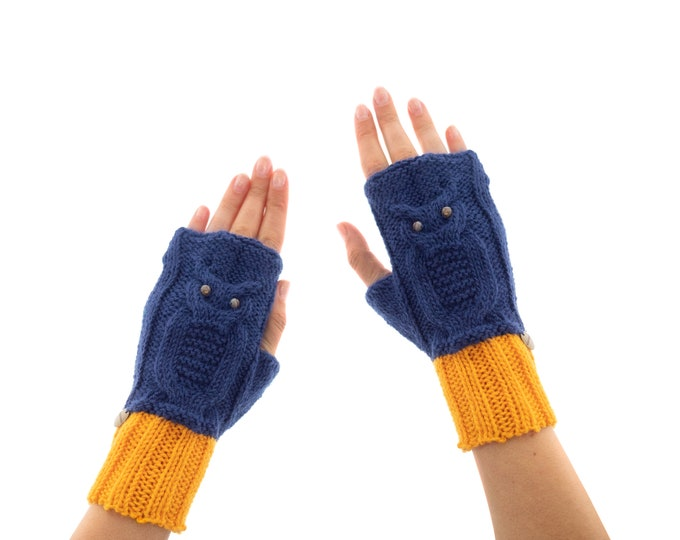 Mitts, Texting Mittens, Best Fingerless Gloves and Mittens for Women with Knitted Crochet Owl with Agate, for Ladies