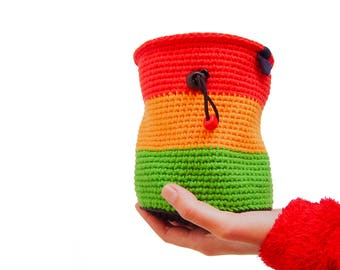 Unique Chalk Bag, Climbing Chalk Bag, XL Chalk Bag Mens For Rock Climbing. Handmade For Gym And Bouldering. Cool And Custom Reggae Colors