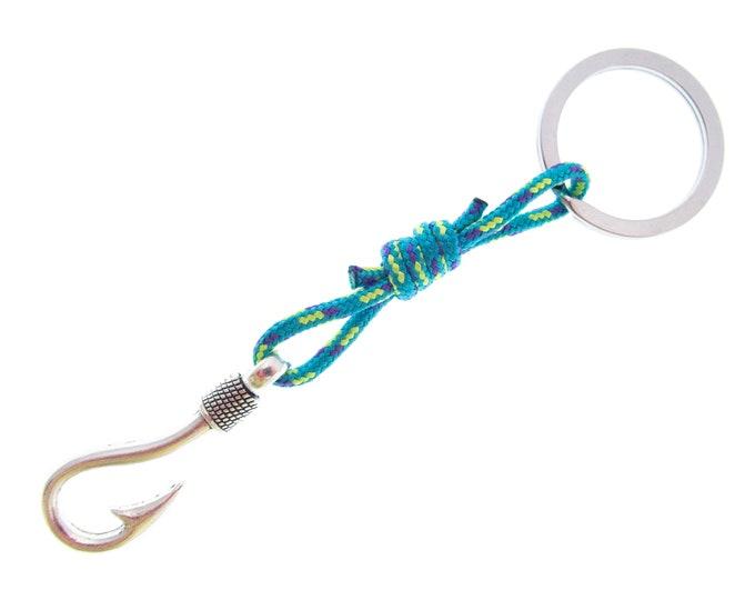 Key Ring for Men, Car Jewelry Keychain Gift. Metal Fishing Hook Rope Loop Hoop Surfer Keyring