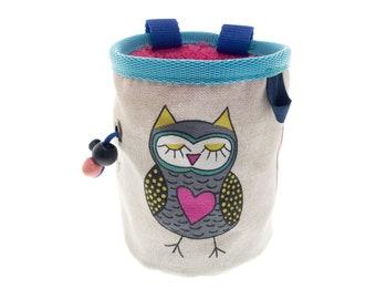 Chalk Bag Climbing, Awesome Cool Anime Rock Climbing Bag, Best Handmade Cute Owl Bucket Chalk Bag. Size M