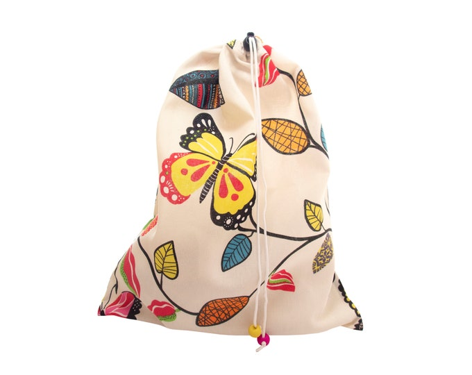 Cotton Drawstring Laundry Bag Large, Canvas Drawstring Laundry Bag of Fabric with Closure, for Shoes H43/W35cm