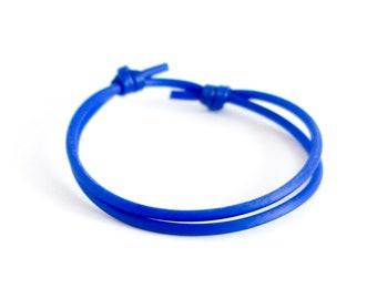 Sliding Knot Bracelet, Adjustable Slip Slider Friendship Jewelry, Simple Silicone Rubber Mens Bracelet. 2 mm